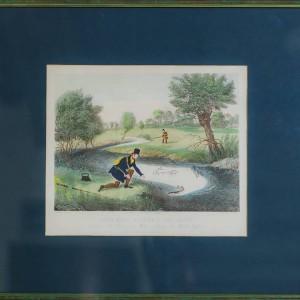 """АКВАТИНТА """"СЦЕНЫ РЫБАЛКИ. РЫБАЛКА НА ЖИВУЮ ПРИМАНКУ"""" художник Джеймс Поллард (1792-1867гг)"""