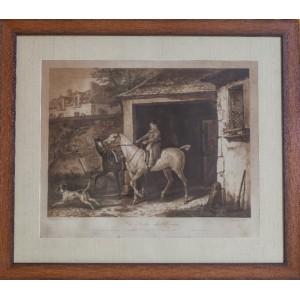 "АКВАТИНТА ""ВЫХОД ИЗ КОНЮШНИ"" автор ЖАЗЕТ Жан Пьер-Мари, 1788-1871 (Франция)"