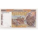 МАЛИ 1000 ФРАНКОВ КФА, 2000 ГОД. Серия D UNC