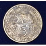 БЕЛЬГИЯ 5 ФРАНКОВ, 1937 ГОД