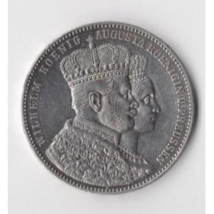 ГЕРМАНИЯ. ПРУССИЯ. 1 ТАЛЕР 1861 ГОД. КОРОНАЦИЯ ВИЛЬГЕЛЬМА I И АВГУСТЫ