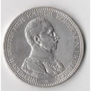 ГЕРМАНИЯ. ПРУССИЯ. 5 МАРОК, 1914 ГОД. ВИЛЬГЕЛЬМ II В МУНДИРЕ