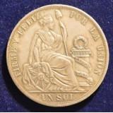 ПЕРУ 1 СОЛЬ, 1888 ГОД